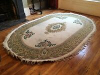 KAYAM Large Oval HAND KNOTTED Chinese Wool Rug 2m X 3.1m Floral Chic Carpet