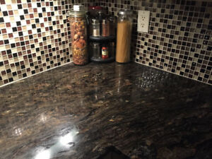 Granite countertops and breakfast bar