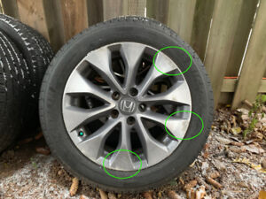 """4 Used OEM Honda Accord 17"""" Rims with Michelin Defender Tires"""