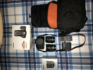 Complete Canon T6 everything in box included. 2 lenses & 2 batts