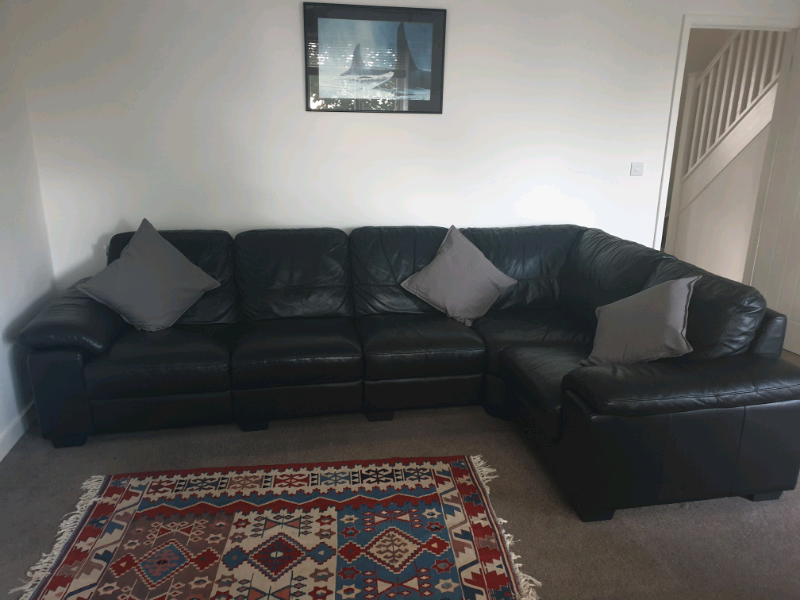 Marvelous Black Leather Corner Sofa In Plymouth Devon Gumtree Ocoug Best Dining Table And Chair Ideas Images Ocougorg