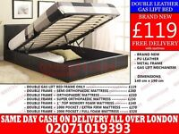 DOUBLE STORAGE LEATHER BED