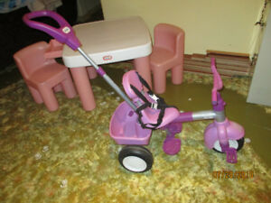 Little tykes toddler bike and little tykes table and chairs