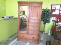 Solid Wardrobe With Mirror & Drawers - Can Deliver For £19