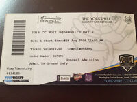 4x tickets cricket at Scarborough- Yorkshire v Nottinghamshire 24 August 2016