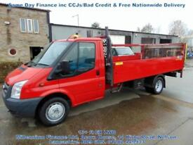 2013 FORD TRANSIT LWB, ALLOY DROPSIDE, PICK UP, EXTENDED FRAME, FSH, TAIL LIFT