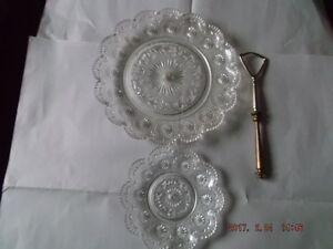 Glass cake server & Plate for sale