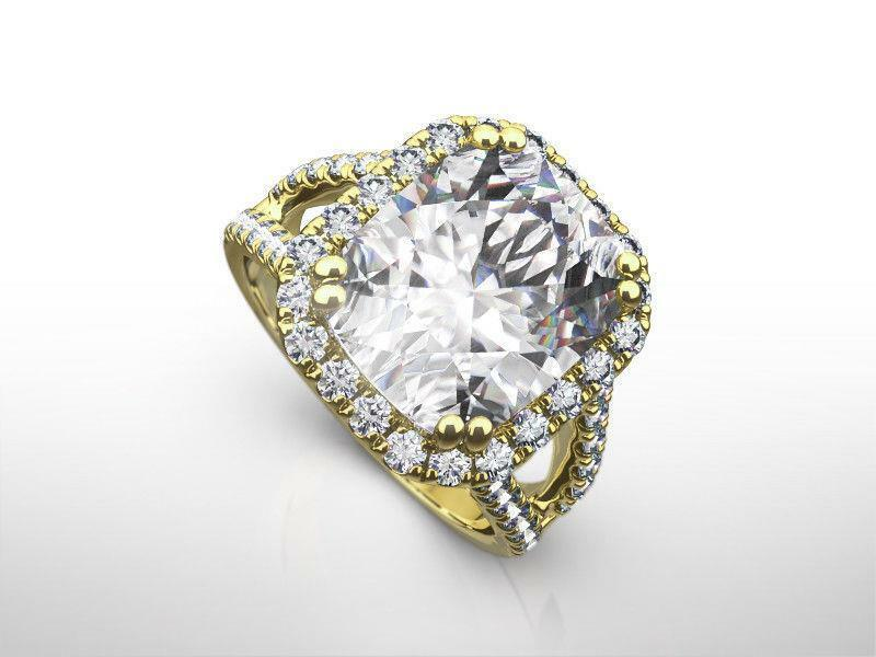 Ladies Diamond Ring Halo 18 Kt Yellow Gold Accents Radiant 5 Ct 8 Prong Estate