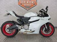 2014 Ducati 899 Panigale in white with Termignoni pipes.