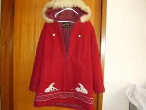 VINTAGE WOOL ARCTIC COAT MADE BY KELSEY TRAIL POLAR BEAR THEME