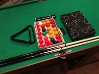 Fold up pool table and accessories