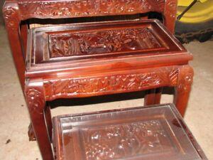 vintage  carved glass covered nesting tables