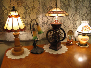 OLD TIFFANY and STAINED COFFEE MILL lamp and more - 416-483-1730