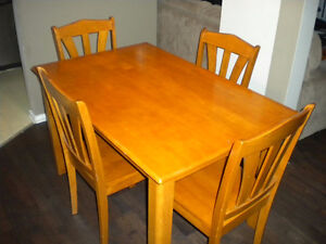kitchen table and four chairs 48 long x31w in wood