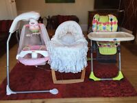 Baby high chair Moses basket cradle swing