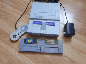 Classic SNES Console and Two Games