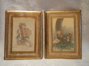 Italian Florentine Prints on Gilt and Cream Painted Wood Plaques