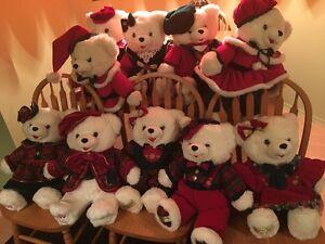10 VINTAGE  SNOWFLAKE CHRISTMAS PLUSH TEDDY BEARS~MR & MRS.