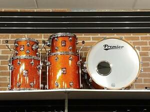 Premier Genista Maple shell kit drum-batterie acoustique 10-12-14ft-16ft orange sparkles - 22 - used-usagée