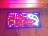 LED Fish and Chips Sign