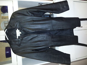 "Authentic Black Leather "" Car Coat"" Peterborough Peterborough Area image 1"