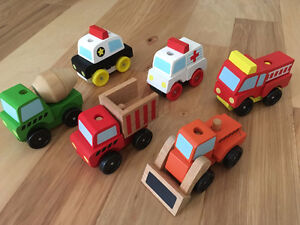 Melissa and Doug stacking construction and emergency vehicles Kitchener / Waterloo Kitchener Area image 1