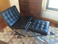 Barcelona chair in black with matching footstool