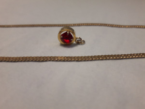 Gold tone necklace and red stone pendant