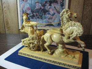 Ancient Roman Chariot statue big 16 1/2 inches long Beautiful!