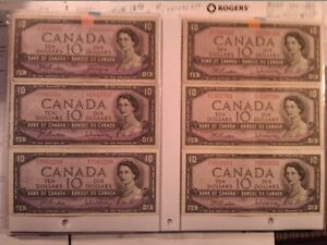 1954 $10 Canadian dollar bills (bank of Canada) paper money