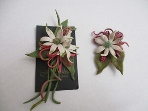 Jan Cathcart Designed Pair of Polymer Clay Botanical Brooches
