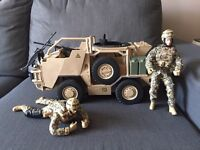 Toy Army truck and 2 figures