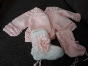 Hand made knitted sweater with 2 pairs of booties