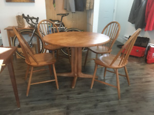 Solid teak dining table and 4 chairs