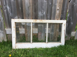 3 ANTIQUE 3 PANEL WINDOW FRAMES