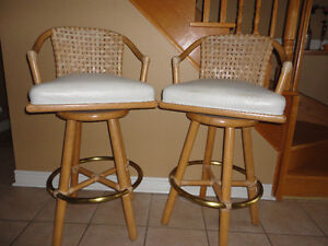 McGuire Furniture - Heavy duty swivel bar stools (Set of 2)