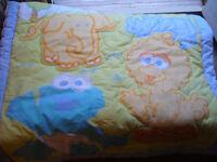 Sesame Street baby quilt, crib sheet, receiving blankets
