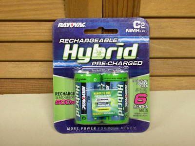 Discharge Nimh Battery - NEW! Rayovac HYBRID Low-Discharge NiMH C Batteries, 1.2V 3000mAh - sealed 2-pack