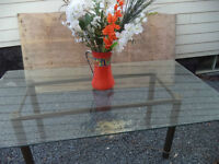 Large Tempered Glass Table/Metal Base - Entertaining on Deck $90