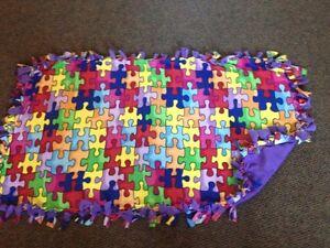 Puzzle with purple back - handmade fleece blanket London Ontario image 1