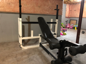 Northen Lights Olympic Bench gym along with Leg Attachment.