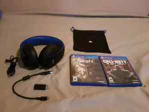 Ps4 headset gold with games