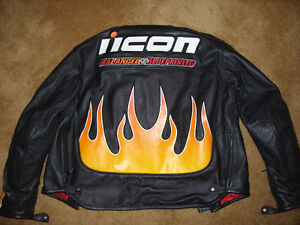 "Black Leather ICON ""Burner"" Motorcycle Jacket London Ontario image 3"