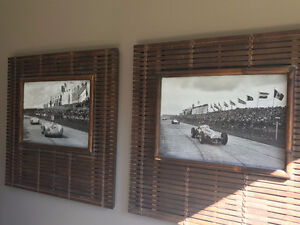 Vintage car pictures with wooden frame