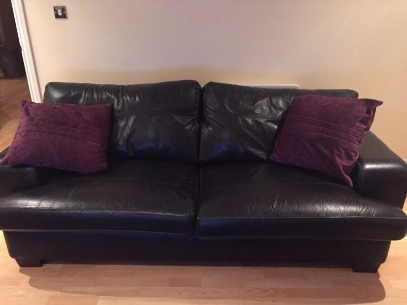 3 Seater Black Leather Sofa Chair Foot Stool For Sale
