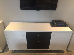 Black and White Lacquered Credenza