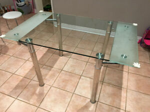 Modern Glass Table for Dining Kitchen area, Extendable