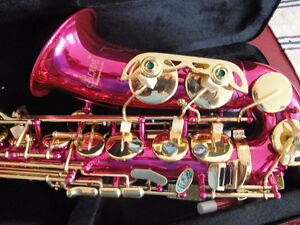 STUNNING PINK ALTO SAXOPHONE  ANOTHER GOLD BRANDNEW+CASE $425
