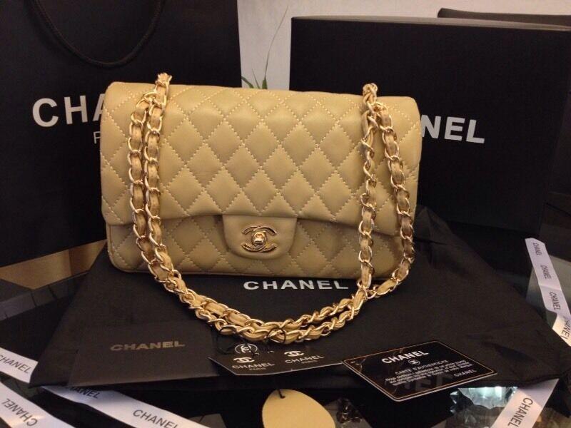 Chanel 2.55 bag. Cream gold chain  fba2539c0cd60