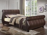 King Size Brown Faux Leather Sleigh Bed, near new matress, A1 condition, collect only, Portsmouth